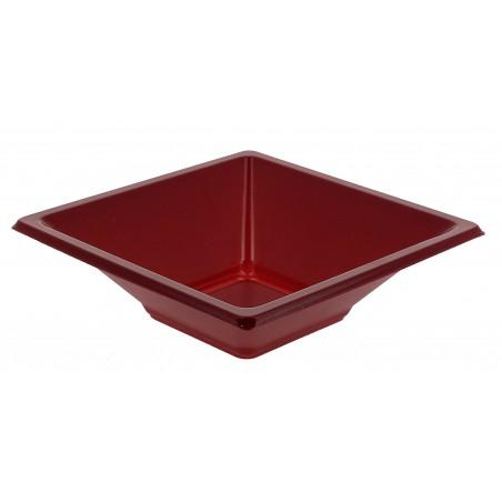 Bol carré plastique bordeaux 120x120x40mm (25 Unités)