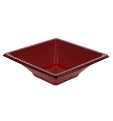 Bol carré plastique bordeaux 120x120x40mm (12 Unités)