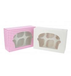 Boîte pour 6 Cupcakes Blanc avec support (20 Unités)