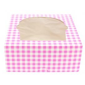 Boîte pour 4 Cupcakes Rose avec insert (140 Unités)