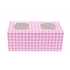 Boîte pour 2 Cupcakes Rose avec insert (20 Unités)