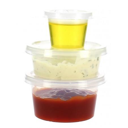Pot à sauces en plastique avec Couvercle 120ml (100 Utés)