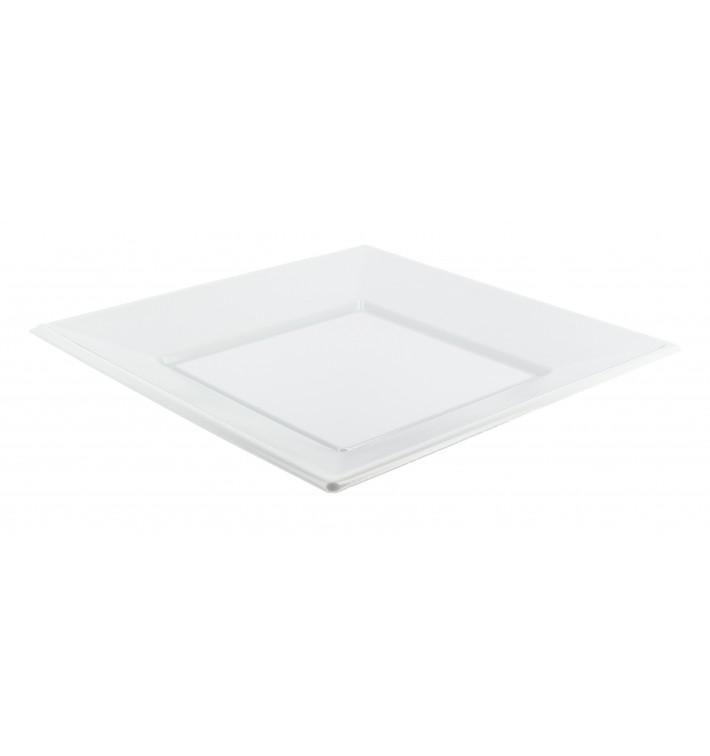 Assiette Plastique Carrée Plate Blanche 230mm (300 Unités)