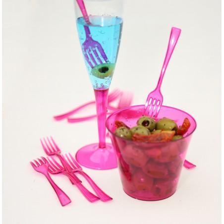 Fourchette Plastique Premium Framboise 190mm (10 Unités)