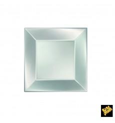 Assiette Plastique Réutilisable Plate Argenté Pearl PP 180mm (300 Utés)