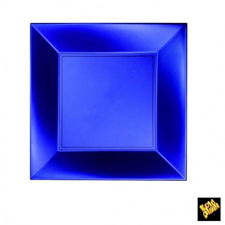 Assiette Plastique Plate Carrée Bleu 230mm(150 Utés)