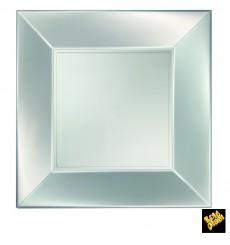 Assiette Plastique Réutilisable Plate Argent Pearl PP 290mm (144 Utés)
