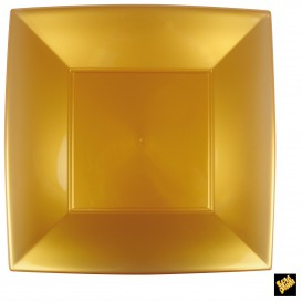 Assiette Plastique Réutilisable Plate Doré PP 290mm (144 Utés)