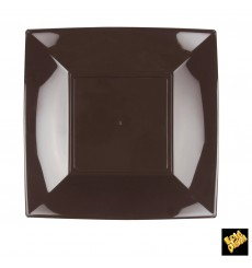Assiette Plastique Plate Marron Nice PP 230mm (300 Utés)