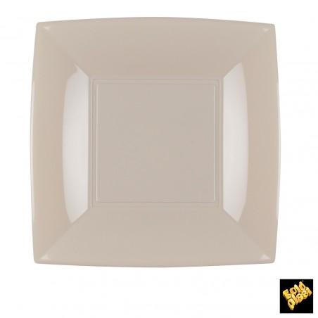 Assiette Plastique Plate Carrée Beige 180mm (25 Utés)