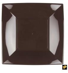 Assiette Plastique Plate Marron Nice PP 290mm (12 Utés)