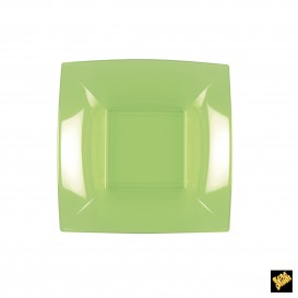 Assiette Plastique Réutilisable creuse vert citron PP 180mm (25 Utés)