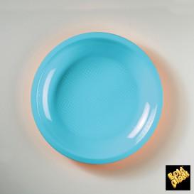 Assiette Plastique Réutilisable Plate Turquoise PP Ø220mm (600 Utés)