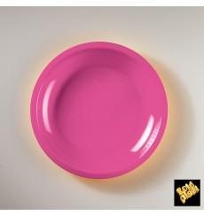 Assiette Plastique Plate Fuchsia Round PP Ø220mm (50 Utés)