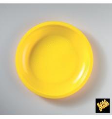 Assiette Plastique Plate Jaune Ø220mm (50 Utés)