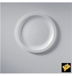 Assiette Plastique Réutilisable Plate Blanc PP Ø185mm (50 Utés)