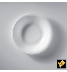 Assiette Plastique Réutilisable Creuse Blanc PP Ø195mm (50 Utés)