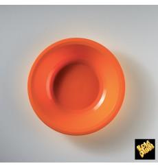 Assiette Plastique Réutilisable Creuse Orange PP Ø195mm (50 Utés)