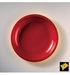 Assiette Plastique Plate Rouge Round PP Ø220mm (50 Utés)