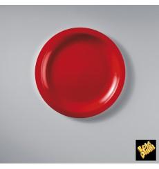 Assiette Plastique Plate Rouge Round PP Ø185mm (50 Utés)