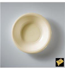 Assiette Plastique Réutilisable Creuse Crème PP Ø195mm (600 Utés)