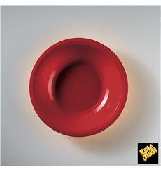 Assiette Plastique Creuse Rouge Round PP Ø195mm (50 Utés)