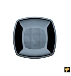 Assiette Plastique Plate Noir Square PS 180mm (25 Utés)