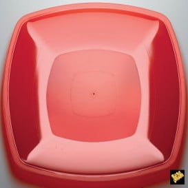 Assiette Plastique Réutilisable Plate Rouge Transp. PS 300mm (144 Utés)