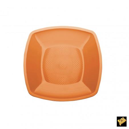 Assiette Plastique Plate Orange 230mm (150 Utés)
