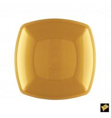 Assiette Plastique Plate Or Square PP 180mm (12 Utés)