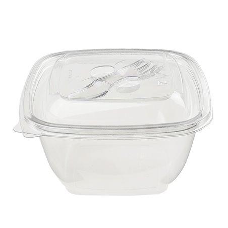 Saladier de Plastique Carré PET 375ml (50 Utés)