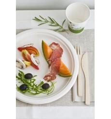 Assiette Bio en Canne à Sucre Blanc Ø230mm (500 Unités)