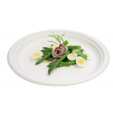 Assiette Bio en Canne à Sucre Blanc Ø260mm (50 Unités)