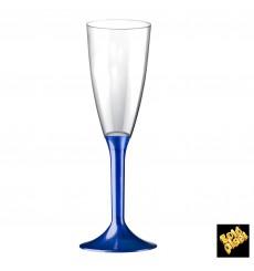 Flûte Champagne Plastique Pied Bleu Perlé 120ml 2P (20 Utés)