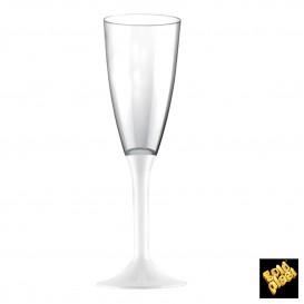 Flûte Champagne Plastique Pied Blanc 120ml 2P (200 Utés)