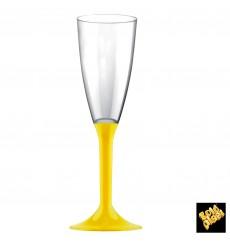 Flûte Champagne Plastique Pied Jaune 120ml 2P (20 Unités)