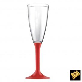Flûte Champagne Plastique Pied Rouge 120ml 2P (200 Utés)