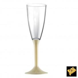 Flûte Champagne Plastique Pied Crème 120ml 2P (200 Utés)