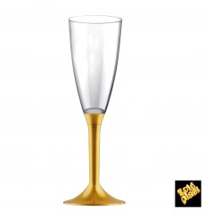 Flûte Champagne Plastique Pied Or 120ml 2P (20 Utés)