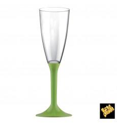 Flûte Champagne Plastique Pied Vert Citron 120ml 2P (20 Utés)