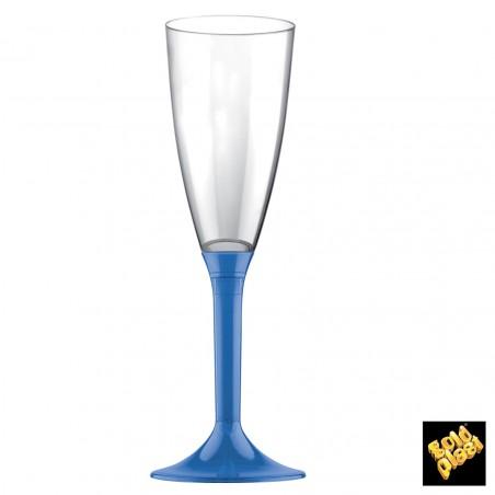 Flûte Champagne Plastique Bleu Tranps. 120ml (20 Unités)