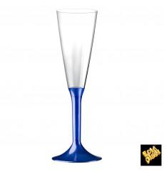 Flûte Champagne Plastique Pied Bleu Perlé 160ml 2P (200Utés)