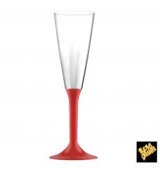 Flûte Champagne Plastique Pied Rouge 160ml 2P (200 Utés)