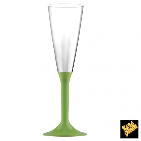 Flûte Champagne Plastique Vert Lime 160ml (20 Unités)