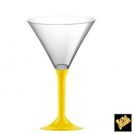 Flûte Plastique Cocktail Pied Jaune 185ml 2P (20 Utés)