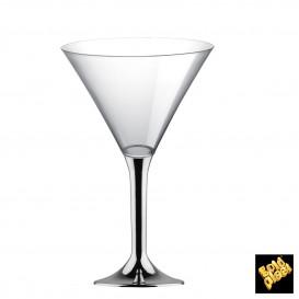 Flûte Plastique Cocktail Pied Argent Chrome 185ml 2P (200 Utés)