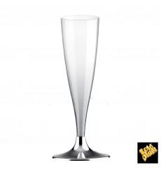 Flûte Champagne Plastique Pied Nickel Chrome 140ml 2P (20 Utés)