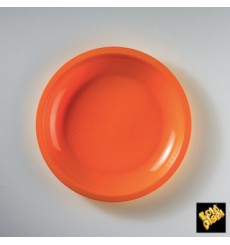 Assiette Plastique Réutilisable Plate Orange PP Ø185mm (50 Utés)
