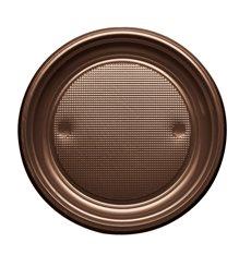 Assiette Plastique Plate Brun PS 170mm (1100 Unités)