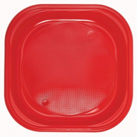 Assiette Plastique Carré Plate Noir PS 170mm (30 Unités)